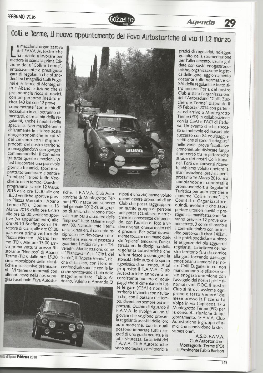 articolo AUTO D'EPOCA febbraio 2016